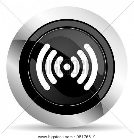 wifi icon, black chrome button, wireless network sign
