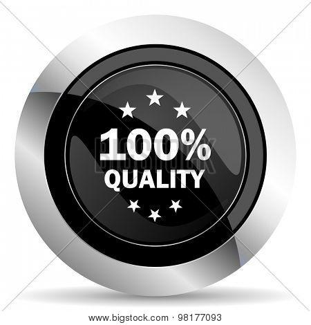 quality icon, black chrome button
