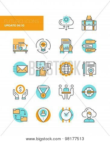 Business Work Flow Line Icons