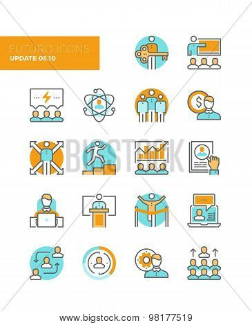 Leadership And Management Line Icons