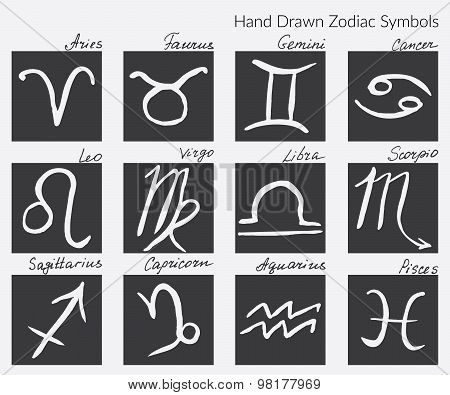 Collection Of Zodiac Signs. Hand Drawn Zodiac Symbol Icons. Vector Graphics Set. Horoscopes Vector I