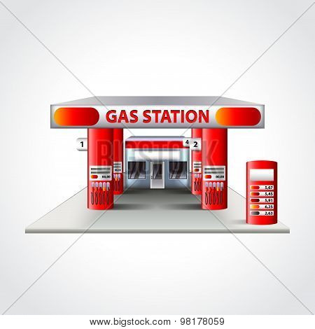 Gas Station Building Isolated Vector Illustration