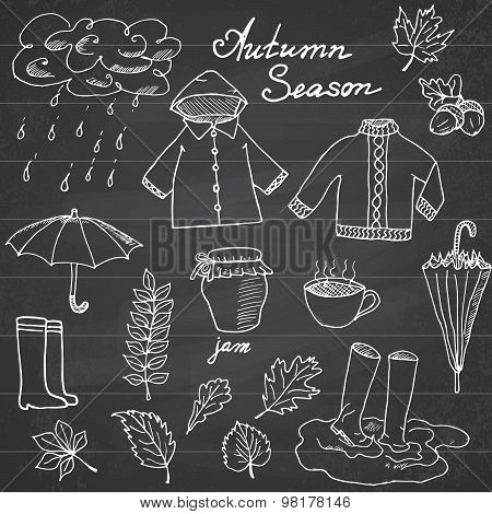Autumn Season Set Doodles Elements. Hand Drawn Set With Umprella Cuo Of Hot Tea, Rain, Rubber Boots,
