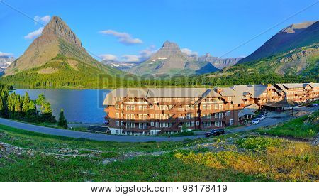 Hotel Near The Swiftcurrent Lake In Glacier National Park