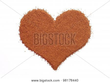 Instant Coffee Granules In A Heart Shape