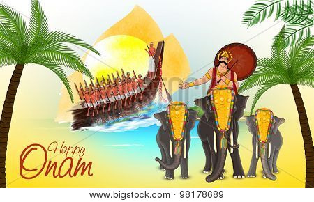 Illustration of a snake boat with participant oarsmen and beautifully decorated elephants with umbrella on occasion of South Indian festival, Happy Onam celebration.