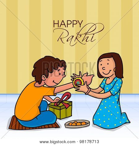 Indian festival of sister and brother concept with the illustration of a sister tying rakhi knot at her brother wrist with love.