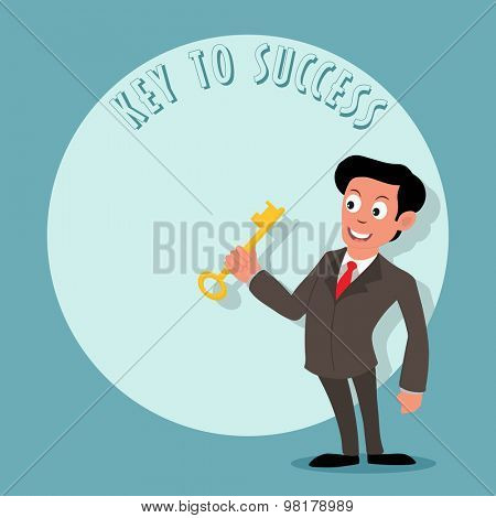 Young businessman holding key to success on stylish background.
