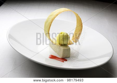 Bavarian Dessert With Olives And Ice Cream
