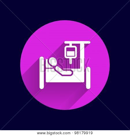 Hospital stretcher bed iv icon recovery injecting intravenous