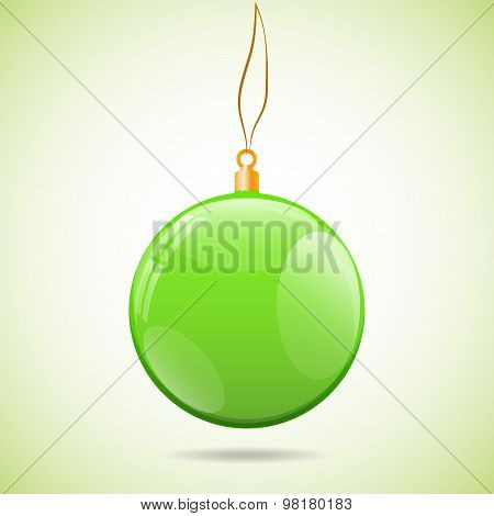 Square Illustration With Green Shiny Christmas Ball