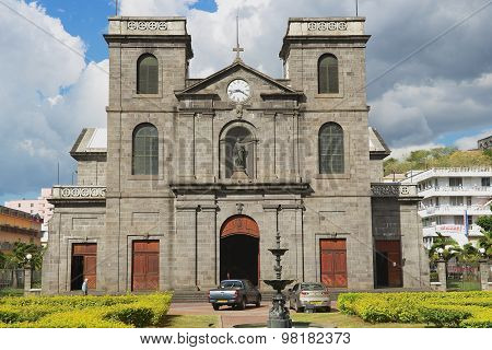 Exterior of the church of Immaculate Conception in Port Louis, Mauritius.