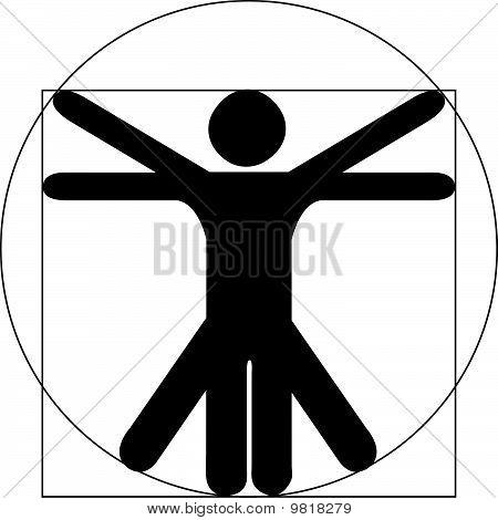 Vitruvian Man Black