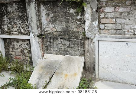 Closeup of Walled Burial Vaults
