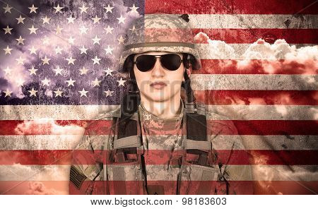 Soldier On A Usa Flag Background