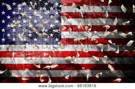 Falling Dollar Bills On A Usa Flag Background