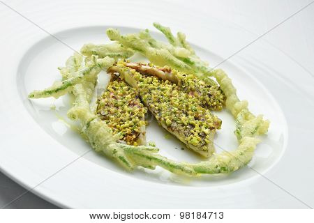Dish Fish Red Mullet Fillet Crusted With Pistachios Salicornia Tempura