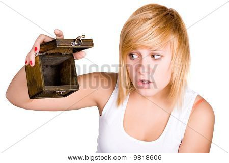 Blond Woman With Empty Wooden Box