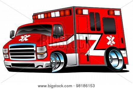 Red Paramedic EMS Ambulance Rescue Truck