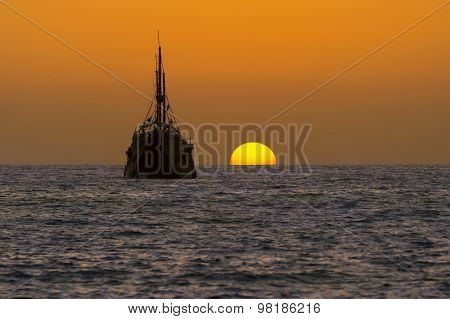 Ship Silhouette Old Wooden