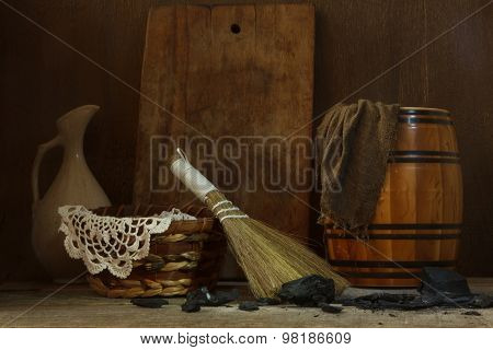 Still Life With Vintage Tools For Cleaning