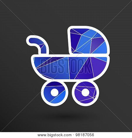 baby stroller icon, maternity wheel illustration born pram