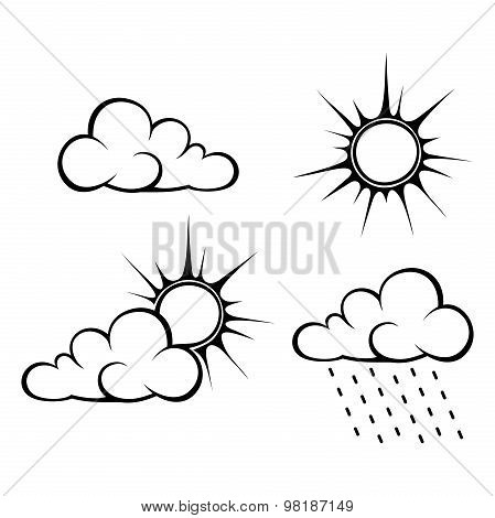 Black contours of clouds and sun. Vector illustration.