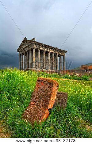Garni Pagan Temple Among The Green Vegetation (armenia)