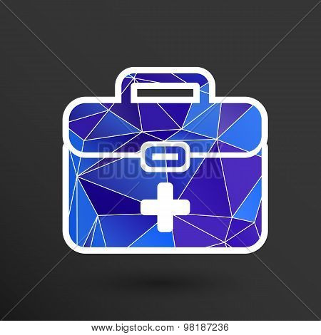 First aid vector icon kit medical box cross symbol