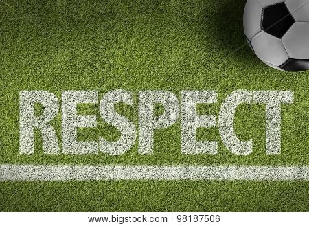 Soccer field with the text: Respect