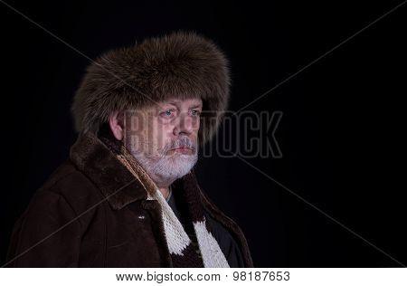 Portrait of tough senior man