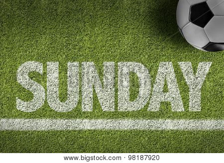 Soccer field with the text: Sunday