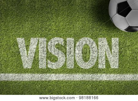 Soccer field with the text: Vision
