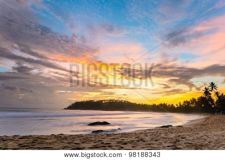 Colorful Sky At Sunset On Desert Tropical Beach