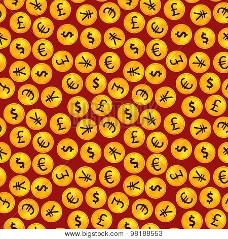 Golden coins with main worlds currency signs on red background seamless pattern