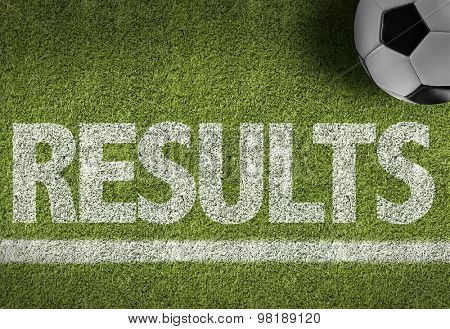 Soccer field with the text: Results