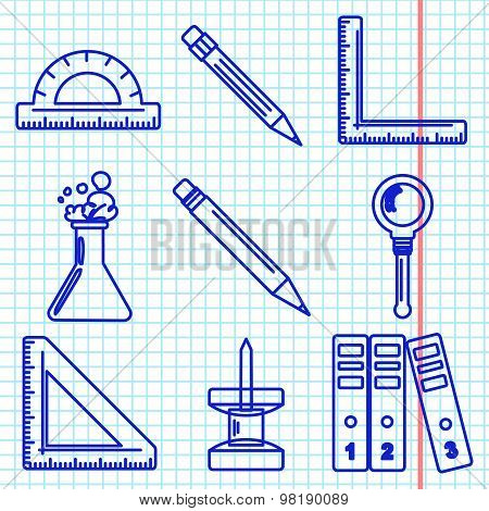 Back to school goods icons