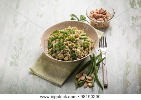 cold rice salad with tuna green-beans almond and mint