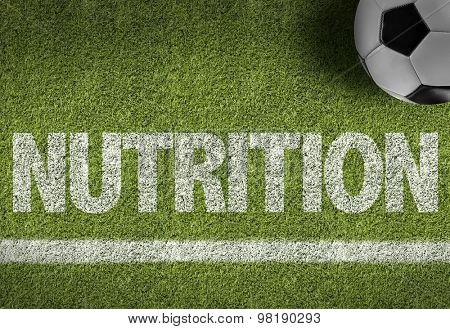 Soccer field with the text: Nutrition