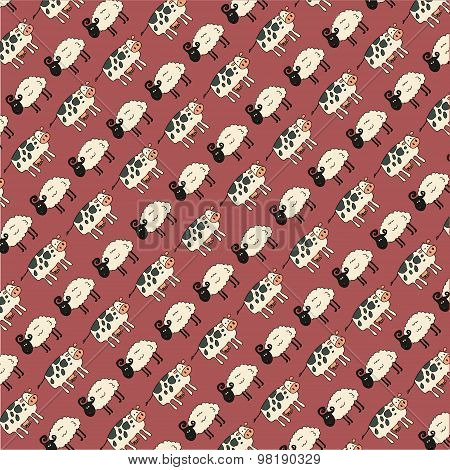 Cow and Sheep Pattern - Illustration - Eps 10