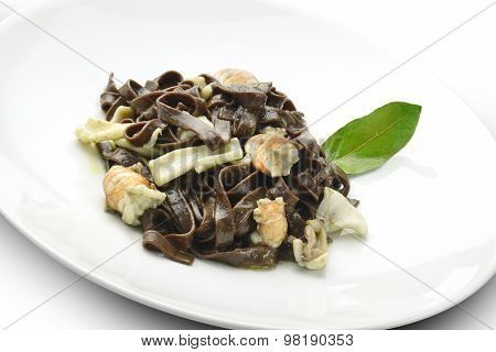 Pasta Dish Chocolate Fettuccine With Prawns And Cuttlefish
