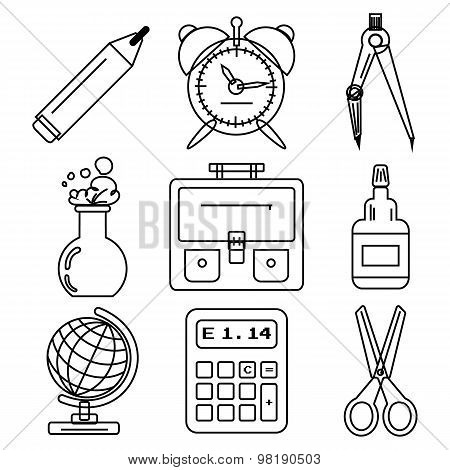 Black school goods black ink icons