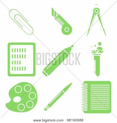 Back to school goods, green linear icons