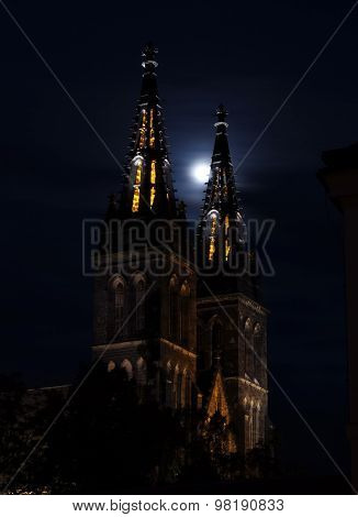 Church of St. Peter and Paul at Vyšehrad in the moon light