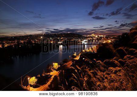 Night Prague from Vysehrad