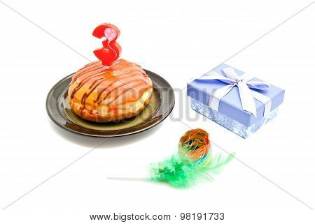 Donut With Three Years Birthday Candle, Gift And Whistle