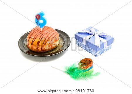Donut With Six Years Birthday Candle, Gift And Whistle