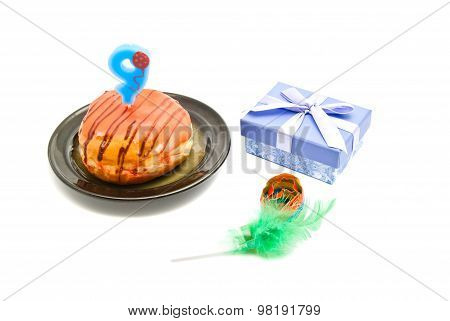 Donut With Nine Years Birthday Candle, Whistle And Gift