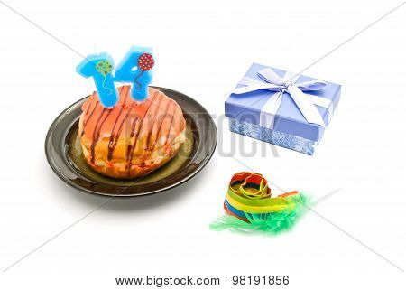 Donut With Fourteen Years Birthday Candle, Whistle And Gift