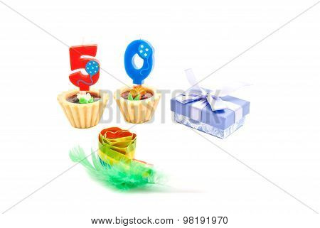 Cakes With Fifty Years Birthday Candles, Whistle And Gift